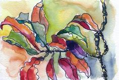 Art Painting Watercolor Tropical Landscape Floral Leaves PRINT in hues of lime green, coral, vermilion and violet. ______________________________________________________________  Ive made many small ink sketches of all sorts of flowers and plants that surround me when I sit on the beach in Jamaica and this is a favorite.  The crotons are mad crazy with color -- I love them.  ______________________________________________________________   This is an archival quality print of my watercolor… Painting & Drawing, Watercolor Paintings, Original Paintings, Watercolours, Art Paintings, Leaf Prints, Large Prints, Tropical Landscaping, Tropical Art