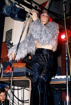 Eno on stage in his Roxy Music days.
