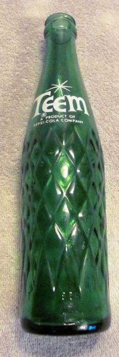 Vintage Green Teem Soda Bottle, 10 Ounces Anchor Hocking Bottle