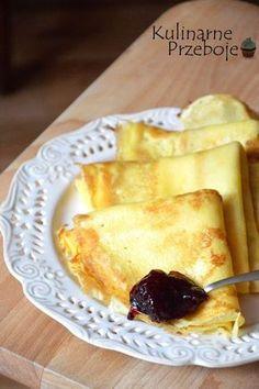 Naleśniki budyniowe - rewelacja! Yogurt Pancakes, Crepes And Waffles, Breakfast Dishes, Breakfast Recipes, Dessert Recipes, Keks Dessert, Easy Blueberry Muffins, Banana Pudding Recipes, Polish Recipes