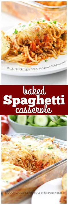 Baked Spaghetti Casserole! Delicious and easy, this casserole is a great twist on a family favorite! Spaghetti noodles combined with a quick & easy fully loaded sauce & tons of gooey cheese!! /spendpennies/
