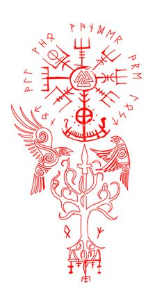 Old School Tattoo Designs, Star Tattoo Designs, Tattoo Sleeve Designs, Sleeve Tattoos, Viking Warrior Tattoos, Viking Tattoo Symbol, Norse Tattoo, Viking Symbols And Meanings, Norse Symbols