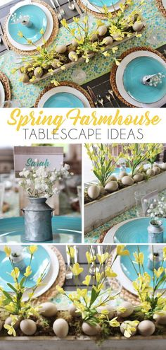 See more of this farmhouse inspired Spring tablescape on the blog, including the FREE printable placecard.  #farmhousetablescape #springfarmhouse #springtablescapeideas #springpartyideas #springcenterpiece #springfarmhouseflorals #farmhouseflorals