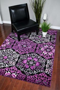 Purple Abstract Modern Rug Contemporary Area Rugs 8x11 Bargain