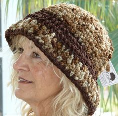 Brown Crochet Brimmed Winter Original Hat by hatsbyanne1942, $43.00