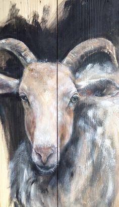 Schilderij van Dieren op hout, Dieren op steigerhout, Goat on wood Painting www.boxart.be
