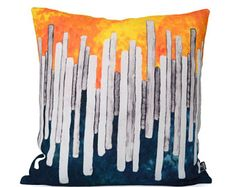 100% linen cushion cover - orange, blue & gray - 18 x 18 - abstract throw pillow case - 45cm x 45cm - accent pillow - decorative pillow