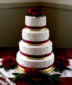 Red White Gold Lace Buttercream Wedding Cake