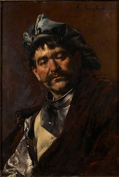 Artwork by Ferdinand Roybet, Portrait of a musketeeer, Made of oil on panel