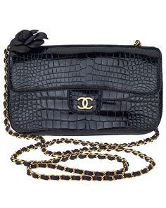 Chanel Mini Crocodile Flap Bag with Camellia Motif.soooo obsessed