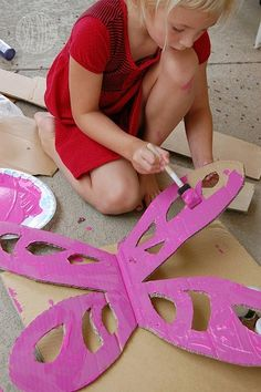 cardboard fairy wings with colored tissue paper inserts