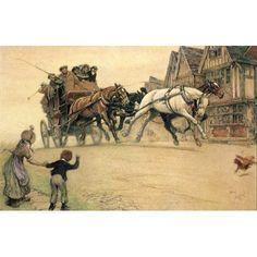 Posterazzi The Romance of the Road 1933 Passing through Canvas Art - Cecil Aldin (24 x 36)