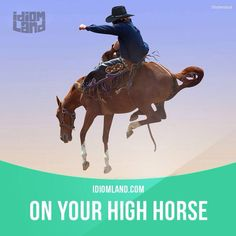 """On your high horse"" means ""to act as if you are better than other people"". Example: - You shouldn't drink alcohol! It is bad for your health. - You shouldn't be on your high horse, you smoke!"