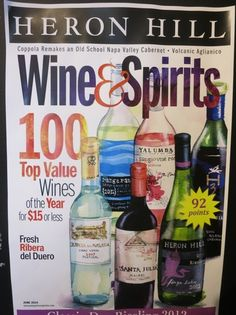 Heron Hill Winery just one of the wines featured on the Wine & Spirits cover for the 2014 100 top value wines. Many #FLX wines made the list.