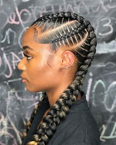 Cornrow hairstyles - Cornrows come in so many sizes, shapes and ever braiding techniques. Find out all about cornrows ha - Feed In Braids Hairstyles, Black Girl Braided Hairstyles, Two Braids Hairstyle Black Women, Weave Hairstyles, Cornrows Braids For Black Women, Wedding Hairstyles, Hairstyles Videos, Hairstyle Short, Hairstyles 2018
