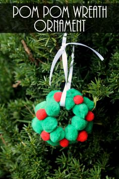 Make this cute Pom Pom Wreath Ornament in just a few steps. This is one the kids will have fun getting involved with!