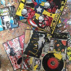 Des nouveautés à latelier ! #sophiecosta #visualartist #instaart #artforsale #collage #newpopart #contemporaryart #colors #comics #music