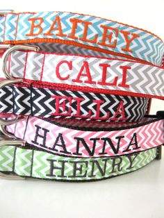 Custom Embroidered Chevron 1 Inch Dog Collar by WatsonAndLucille, $37.00
