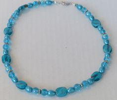 Brilliant blue bead necklace by mizmlu on Etsy, $10.95