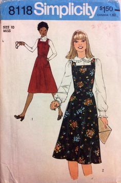 1970s pinafore dress Simplicity 8118 Uncut vintage sewing pattern Bust 32.5 Waist 25 Hip 34.5 Retro preppy 70s style jumper dress by 101VintagePatterns on Etsy