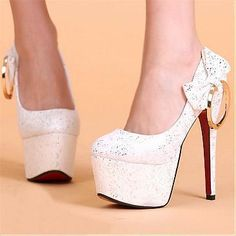 [38.32] Fashionable Suede White Bowknot Round Closed Toe Stiletto Super High Heel Basic Pumps - Sweetiee.com
