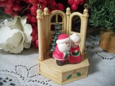 Anrique Celluloid Christmas Tree Ornament Santa and Mrs. Claus Figurine Vintage…
