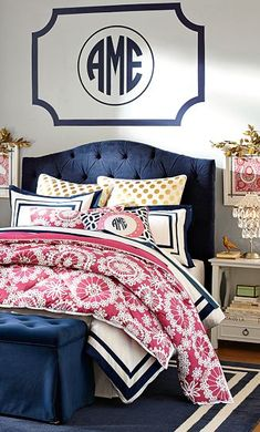 Gorgeous bedroom in navy with gold, pink, and white accents http://rstyle.me/n/egbbdnyg6