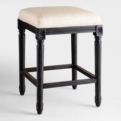 Linen and Black Frame Paige Backless Counter Stool - v1