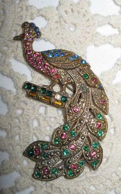 Antique Peacock brooch