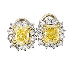b2d4b35a4 3.99 CTS. TW. THROUGHOUT FANCY YELLOW DIAMOND EARRINGS Each a cut-cornered  rectangular