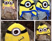 Crochet Minion Hat/Beanie With Earflaps and Braids--Infant Toddler--Boy/Girl Despicable Me Inspired