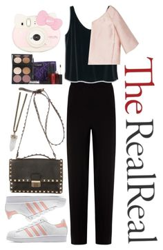 """""""Holiday Sparkle With The RealReal: Contest Entry"""" by zulfastley ❤ liked on Polyvore featuring Balenciaga, MANGO, Valentino, adidas Originals, Gorgeous Cosmetics, Givenchy and Hello Kitty"""
