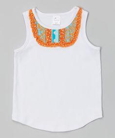 Look what I found on #zulily! White & Orange Ruffle Tank - Infant, Toddler & Girls #zulilyfinds