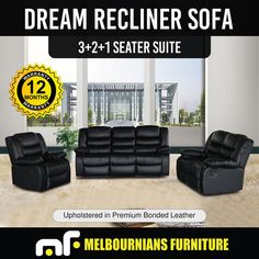 Recliner New Lounge Black Leather Smart Ultra Cushioned Stylish Dream Leather Sofa Set, Leather Recliner, Leather Furniture, Cheap Sofa Sets, Dining Chair Covers, Dining Chairs, Black Lounge, Modern Recliner, Lounge Suites