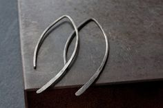 Image of Oxidized Sterling Silver Wishbone Earrings