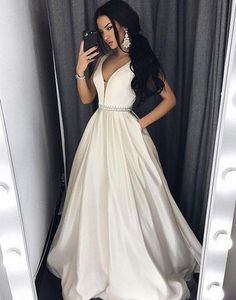 Cute ivory satin prom dress, v-neck prom dress, ball gown 2017