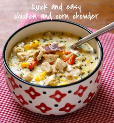 New England style chowder, made with chunks of chicken and corn.
