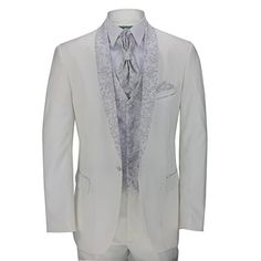 Men's 5 Piece White Slim Fit Tuxedo Suit Paisley Print Shawl Lapel Wedding Party - Royal Hub