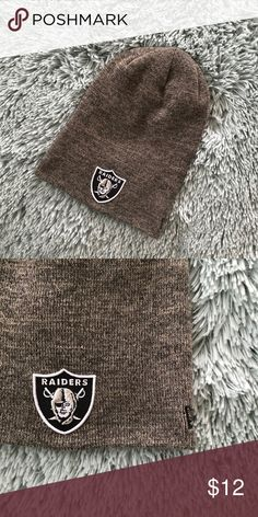 a48fdbf5 Shop Men's New Era Gray Black size OS Hats at a discounted price at  Poshmark. Description: BNWOT Oakland Raiders gray slouch NFL beanie  💛💛NEXT DAY ...