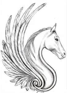 Pegasus Winged Tattoos - really liking this as a possibility for my foot - with blue wings but other wise black outline and my Mum's name under it....