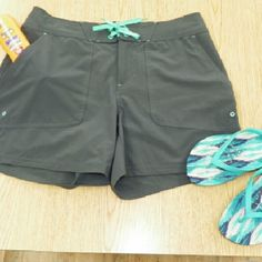 L.L.Bean Board Shorts Dark Gray and Teal accents with built in sun protection UPF 50. Like New. L.L. Bean Shorts