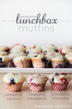 Awesome lunchbox muffins from The Baker Upstairs. One delicious and easy muffin base makes three amazing and unique muffins! The perfect homemade treat for school lunches! Muffin Recipes, Baking Recipes, Dessert Recipes, Desserts, Yummy Recipes, Cupcakes, Cupcake Cakes, Cake Pops, Yummy Treats