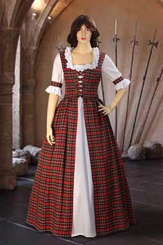 Scottish Tartan Dress No. 43 Red White - USD - Medieval and Renaissance Clothing, Handmade by Your Dressmaker Celtic Clothing, Scottish Clothing, Scottish Fashion, Tartan Mode, Tartan Kilt, Tartan Dress, Renaissance Costume, Renaissance Clothing, Historical Clothing