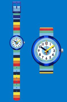 Somewhere over the rainbow is this Swiss-made analogue watch for kids, with its pioneering design of vivid prismatic stripes.  STRIPYBOW (ZFPNP056) will bring the gift of colour to a child learning the time, and this rainbow wrist watch has a digital printed dial as well as a transparent plastic case that's both water and shock resistant. Somewhere Over, Plastic Case, Kids Learning, Rolex Watches, Packaging Design, Swatch, Bracelet Watch, Stripes, Rainbow