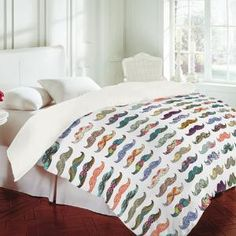 DENY Designs Home Accessories   Bianca Green Mustache Mania Duvet Cover