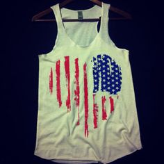Ladies' Vintage I Heart American USA Patriotic July 4th Fashion, Florida Georgia Line and Firefly Music Festival Racerback Tank Top