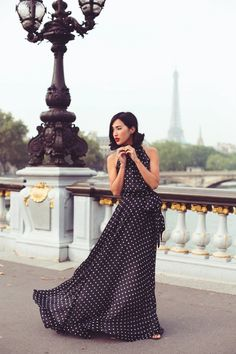 @roressclothes closet ideas #women fashion outfit #clothing style apparel black Polka-Dot Maxi Dress