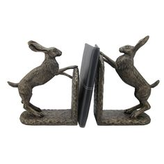 Bronze Boxing Hare Sculpture Bookends Ornament Sitting By Harriet Glen 33700