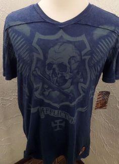 AFFLICTION Mens T-Shirt Skull Crossbones American Customs Motorcycles Sz-XL NWT #Affliction #GraphicTeePartialVNeck