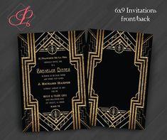 Great Gatsby Monogram Invitations or for por PrettyWithInkInvites